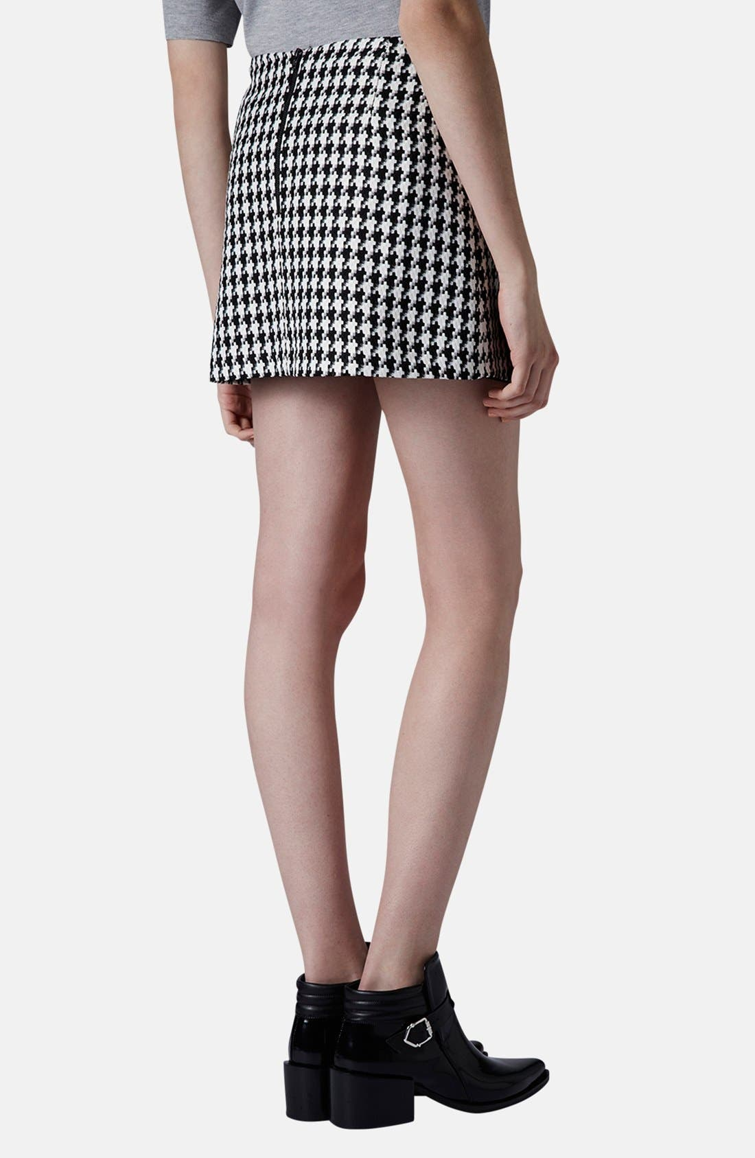 Alternate Image 2  - Topshop Zip Detail Houndstooth Skirt