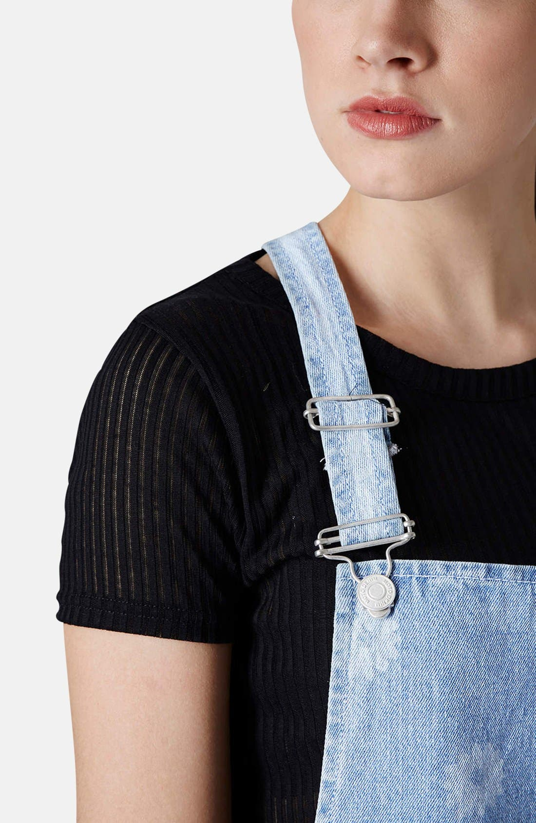 Alternate Image 4  - Topshop Moto Daisy Print Denim Pinafore Dress