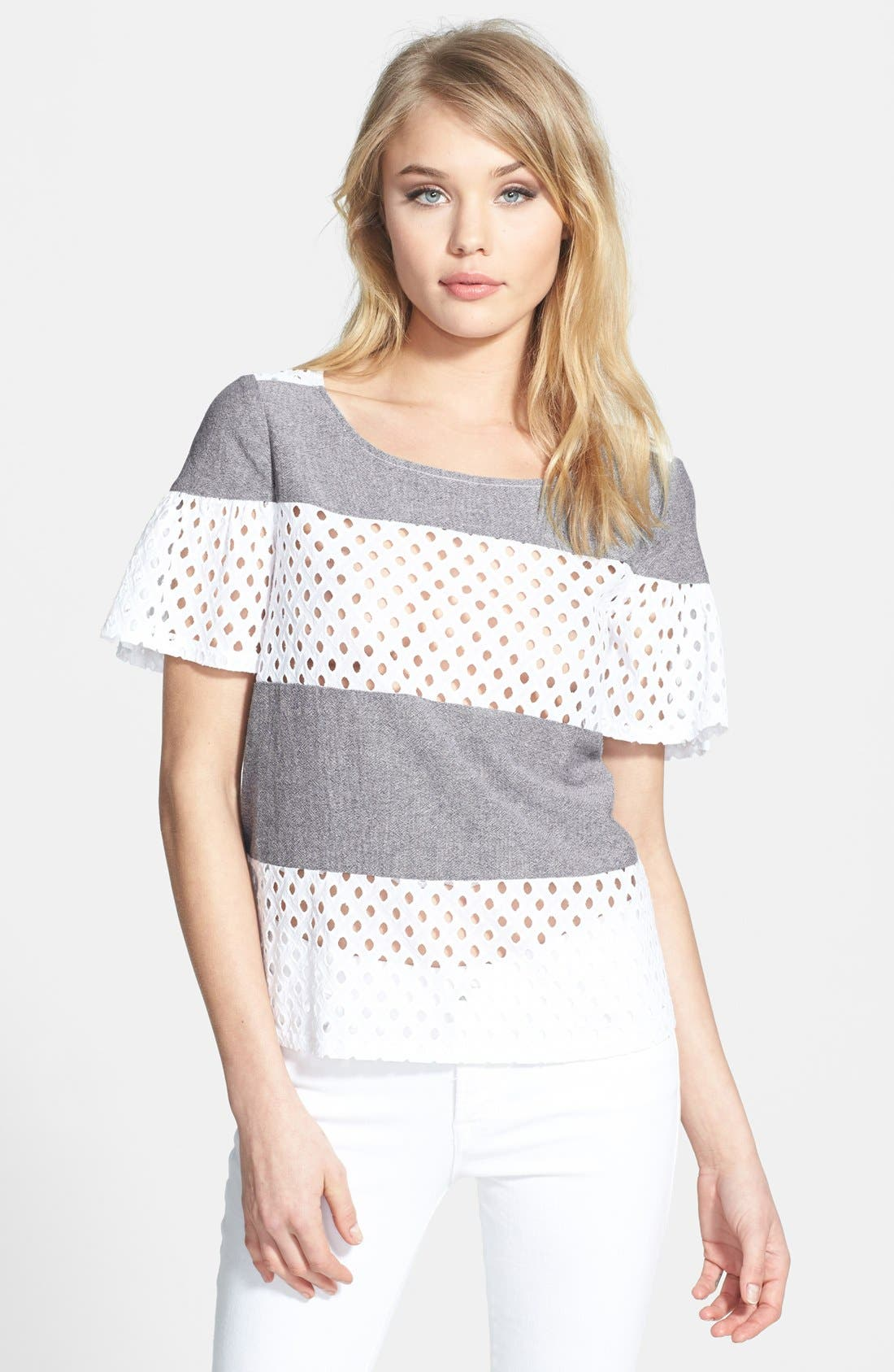 Alternate Image 1 Selected - Ella Moss 'Tessa' Eyelet & Chambray Top
