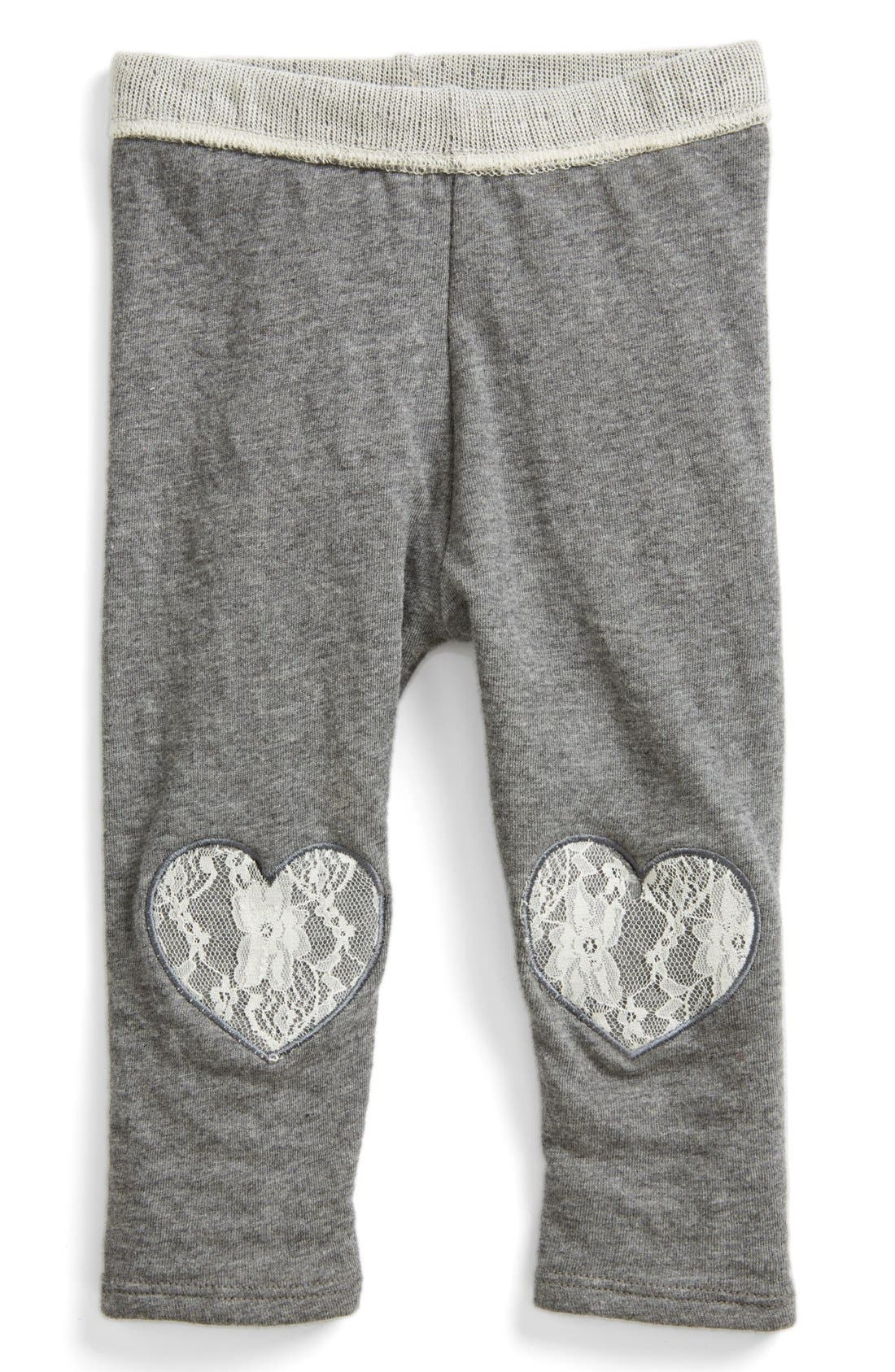 Alternate Image 1 Selected - Red Wagon Baby Heart Patch Leggings (Baby Girls)