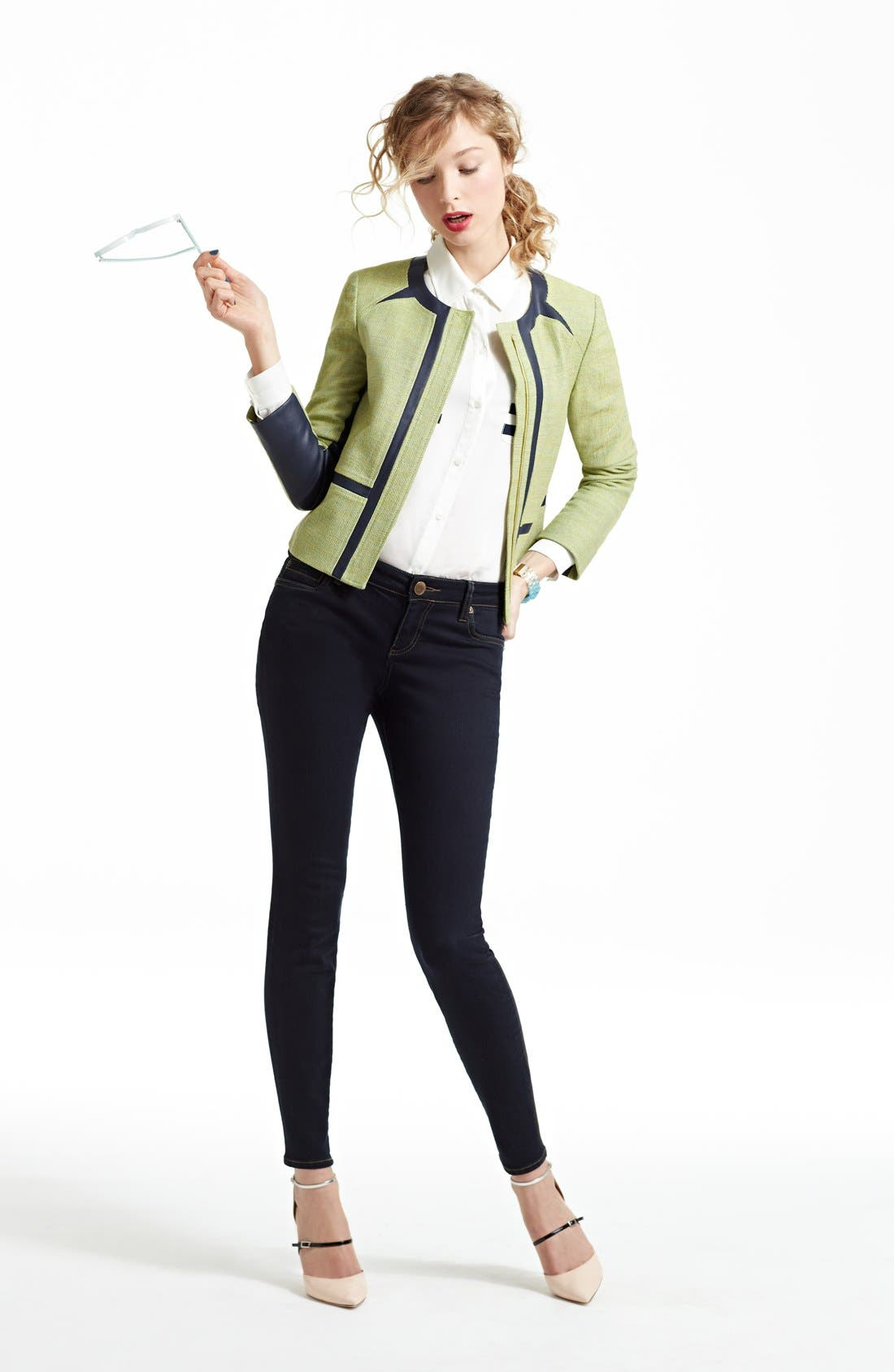 Alternate Image 2  - Anne Klein Collarless Jacket, Shirt & KUT from the Kloth Skinny Jeans