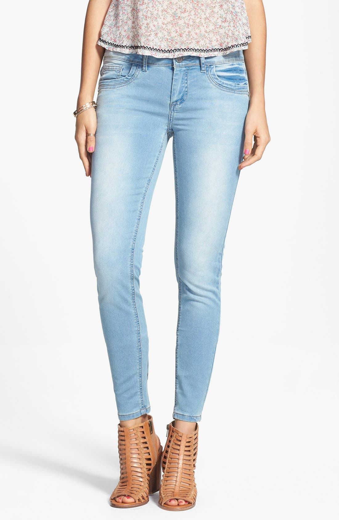Alternate Image 1 Selected - Jou Jou French Terry Knit Skinny Jeans (Juniors)