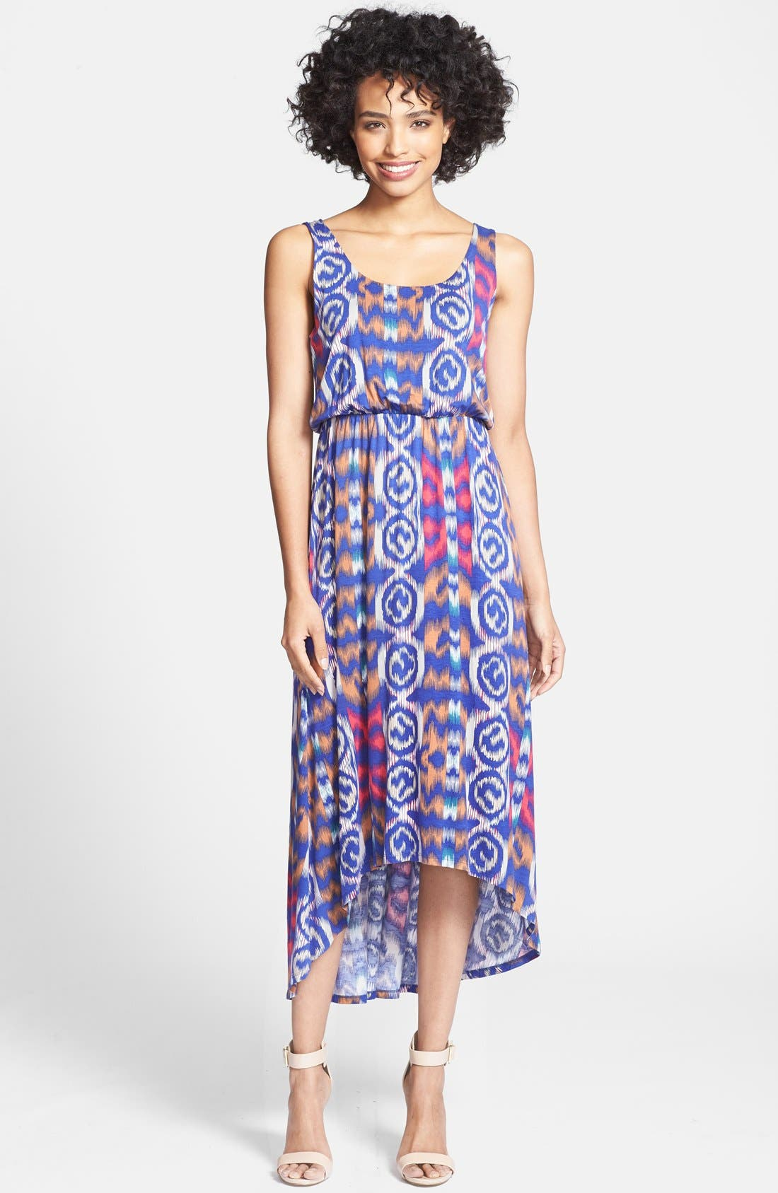 Main Image - Felicity & Coco Print High/Low Maxi Dress (Petite) (Nordstrom Exclusive)