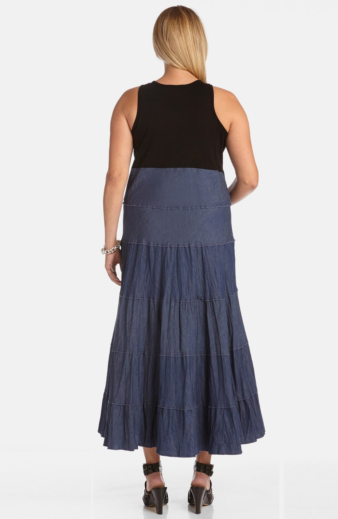 Alternate Image 2  - Karen Kane Mixed Media Tiered Maxi Dress (Plus Size)