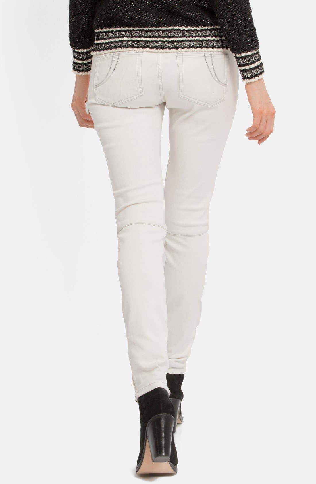 Alternate Image 2  - maje Leather Panel Stretch Skinny Jeans (Ecru)