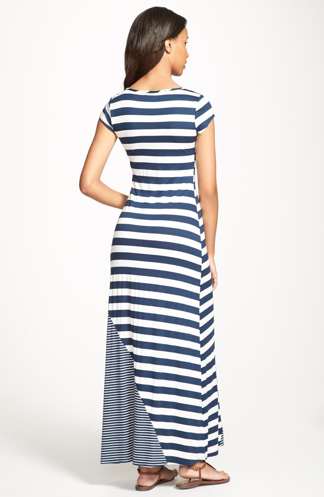 Alternate Image 2  - Everleigh Multi Stripe Short Sleeve Maxi Dress (Regular & Petite)