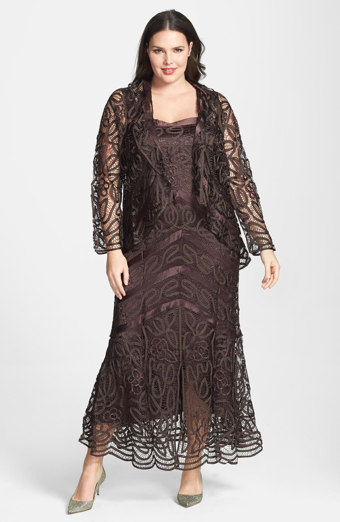 Alternate Image 1 Selected - Soulmates Bead Crochet Dress & Jacket (Plus)