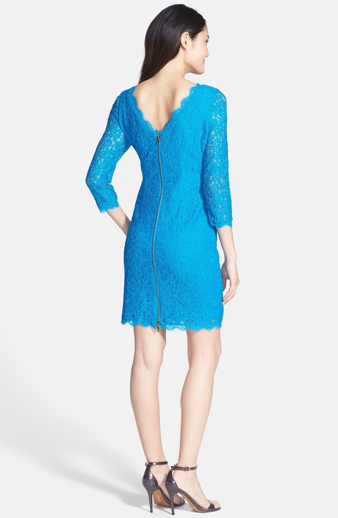 Alternate Image 2  - Adrianna Papell Lace Overlay Sheath Dress (Regular & Petite)