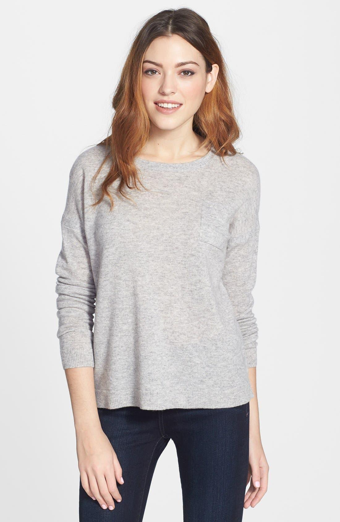 Main Image - Halogen® Lightweight Cashmere Crewneck Sweater with Pocket (Petite)