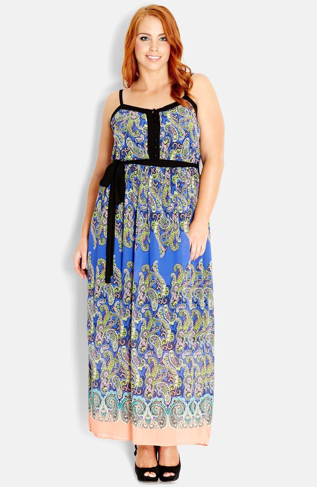 Alternate Image 1 Selected - City Chic 'Paisley Blues' Maxi Dress (Plus Size)