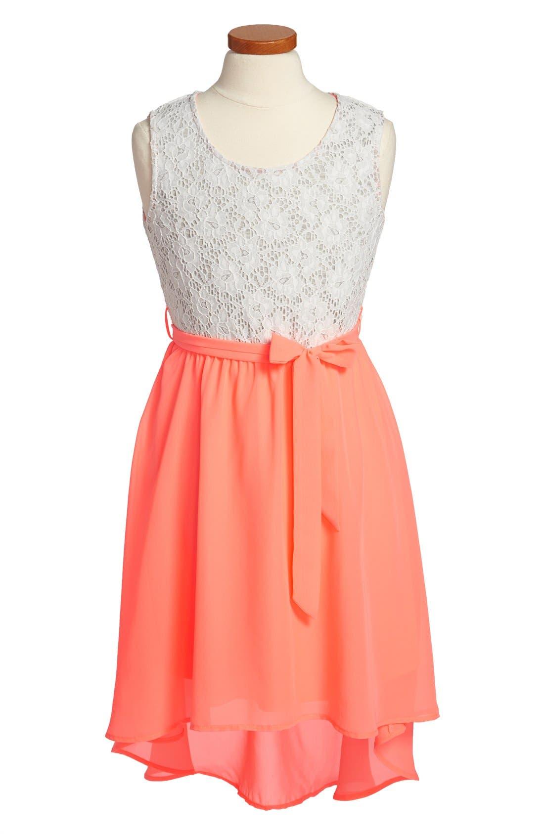 Main Image - W Girl Lace Bodice High/Low Dress (Big Girls)
