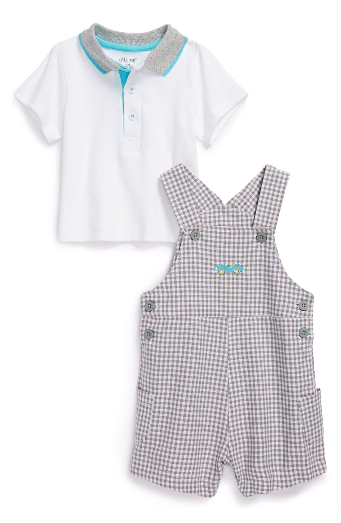 Alternate Image 1 Selected - Little Me 'Automobile' Polo Shirt & Shortalls (Baby Boys)