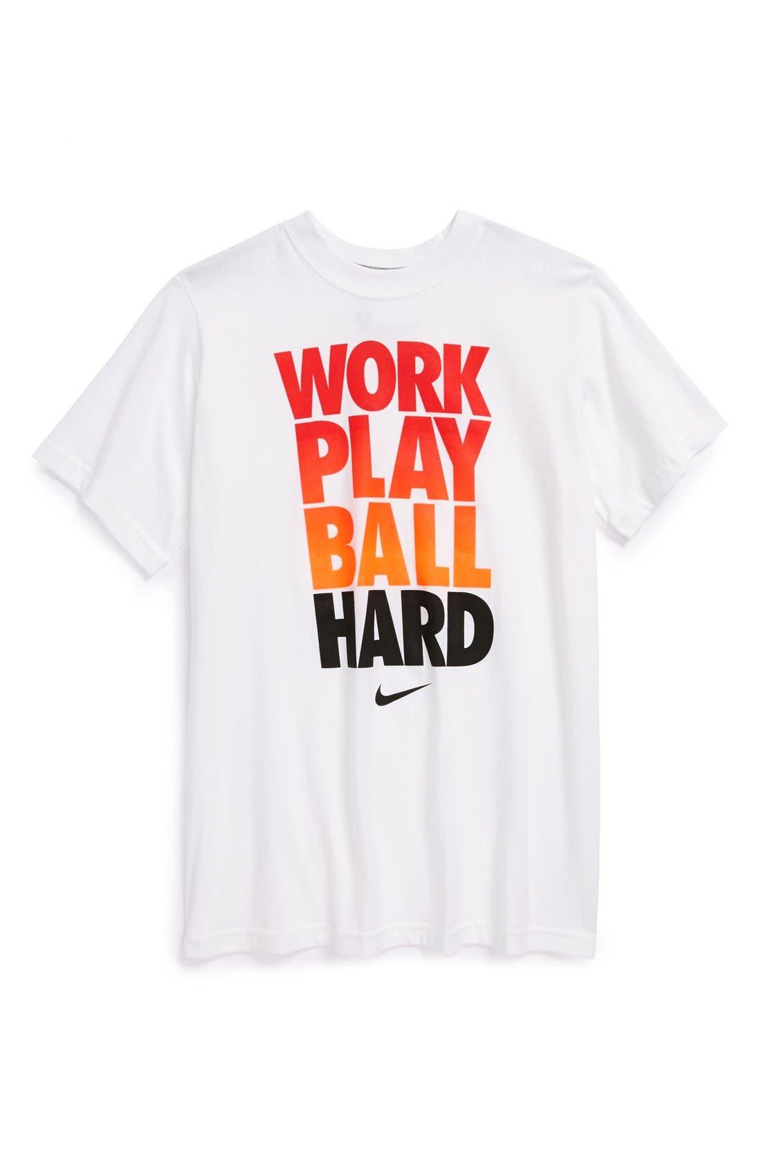 Alternate Image 1 Selected - Nike 'Work Play Ball Hard' T-Shirt (Big Boys)