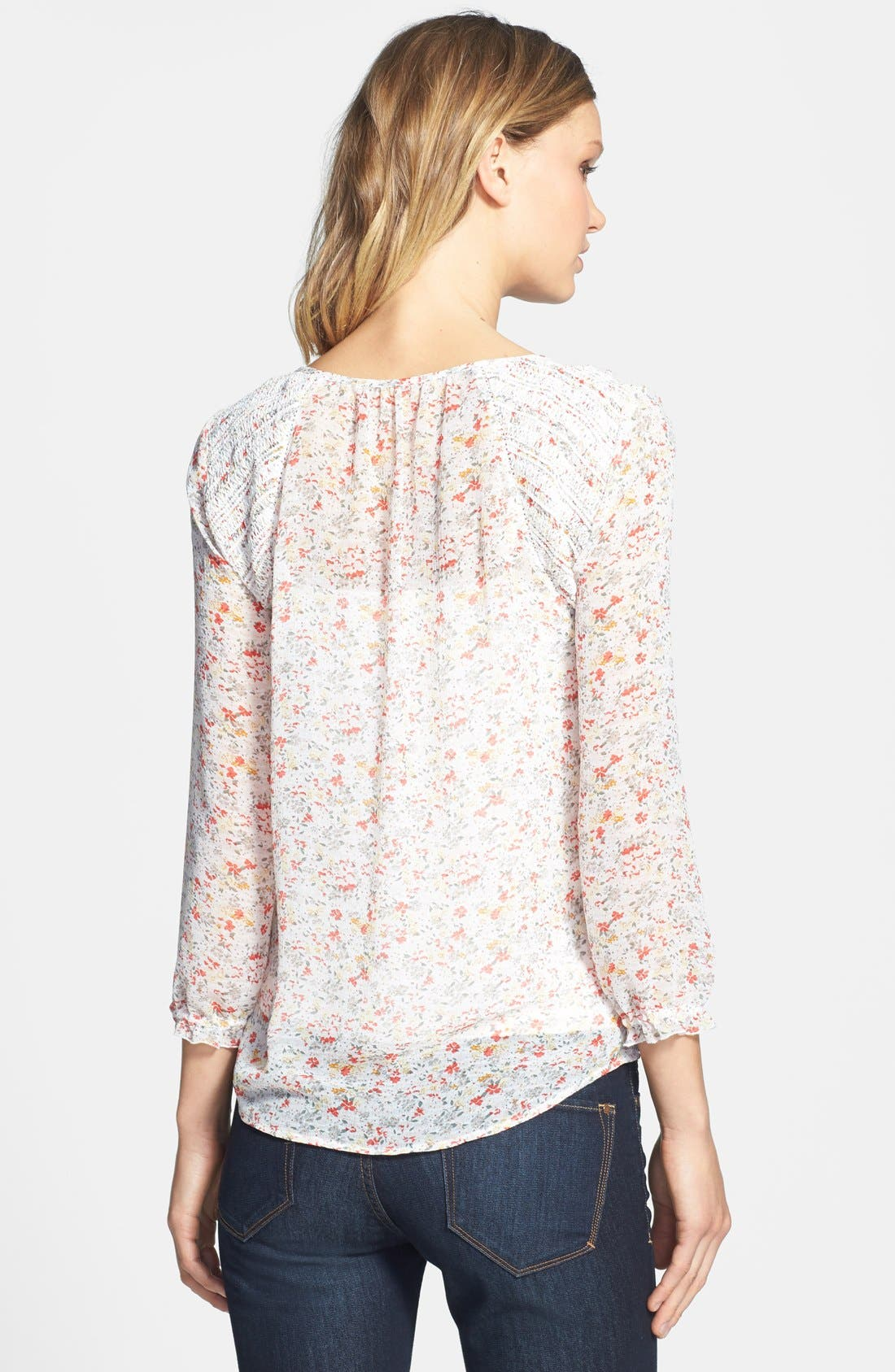 Alternate Image 2  - Two by Vince Camuto 'Ditsy Floral' Tie Neck Blouse