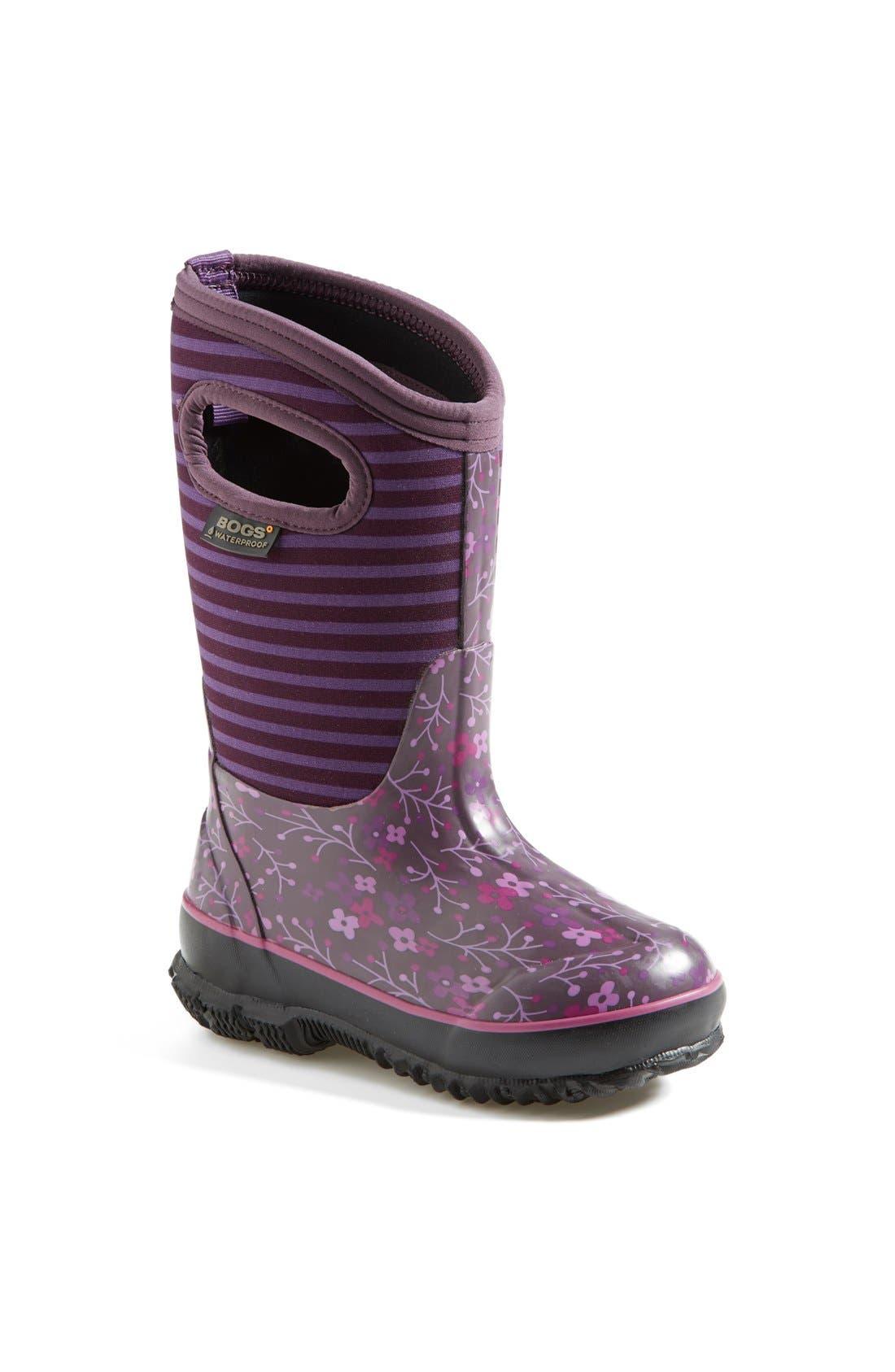 Main Image - Bogs 'Classic - Flower Stripe' Waterproof Boot (Little Kid & Big Kid)