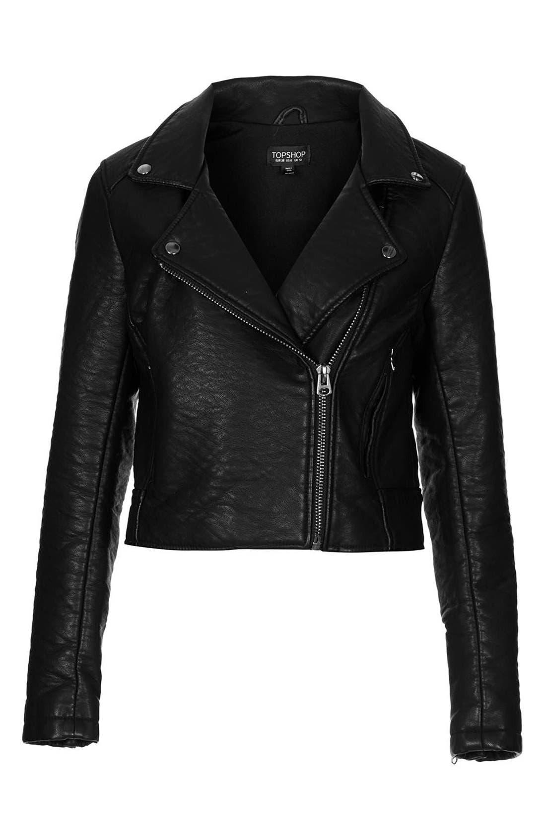 Alternate Image 3  - Topshop 'Scarlet' Faux Leather Biker Jacket