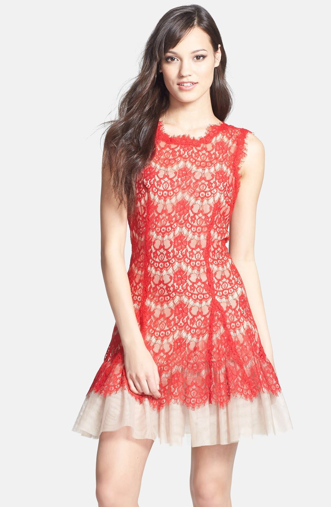 Main Image - Betsy & Adam Sleeveless Lace Fit & Flare Dress