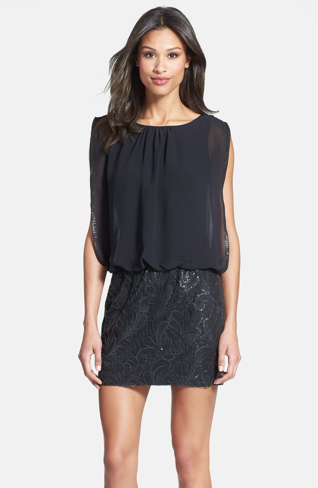 Main Image - Aidan Mattox Embellished Chiffon Blouson Dress