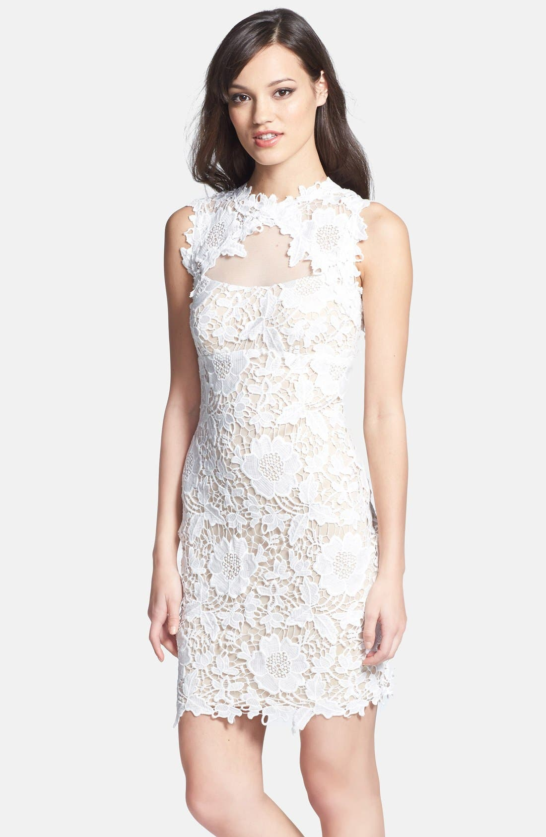 Main Image - Betsy & Adam Two-Tone Lace Sheath Dress