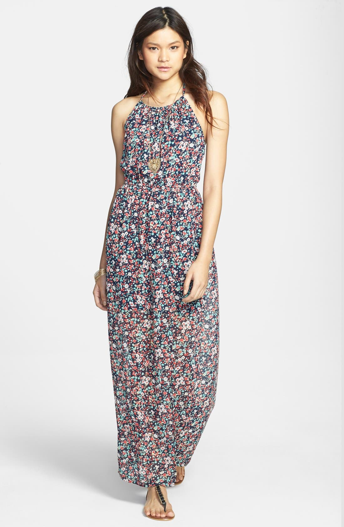 Main Image - Mimi Chica Floral Print Chiffon Halter Maxi Dress (Juniors)