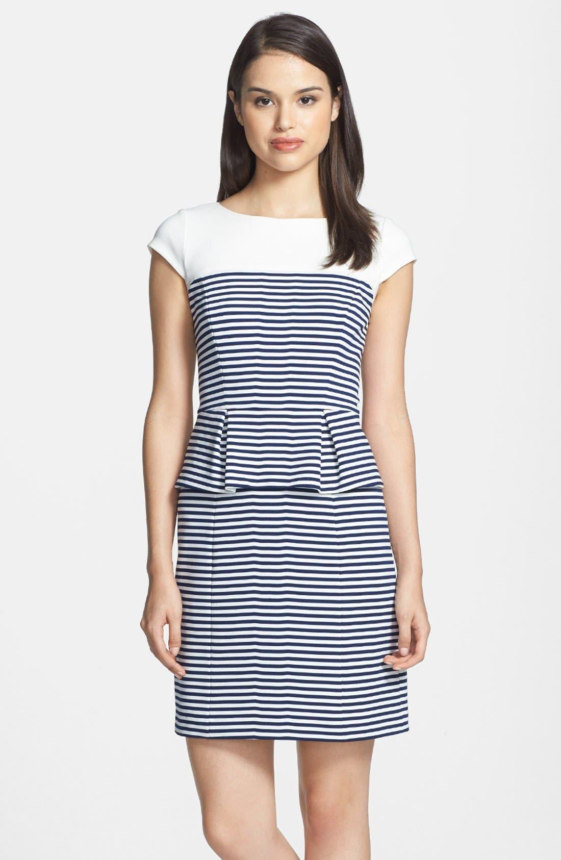 Alternate Image 1 Selected - Ivy & Blu Stripe Ponte Knit Peplum Dress