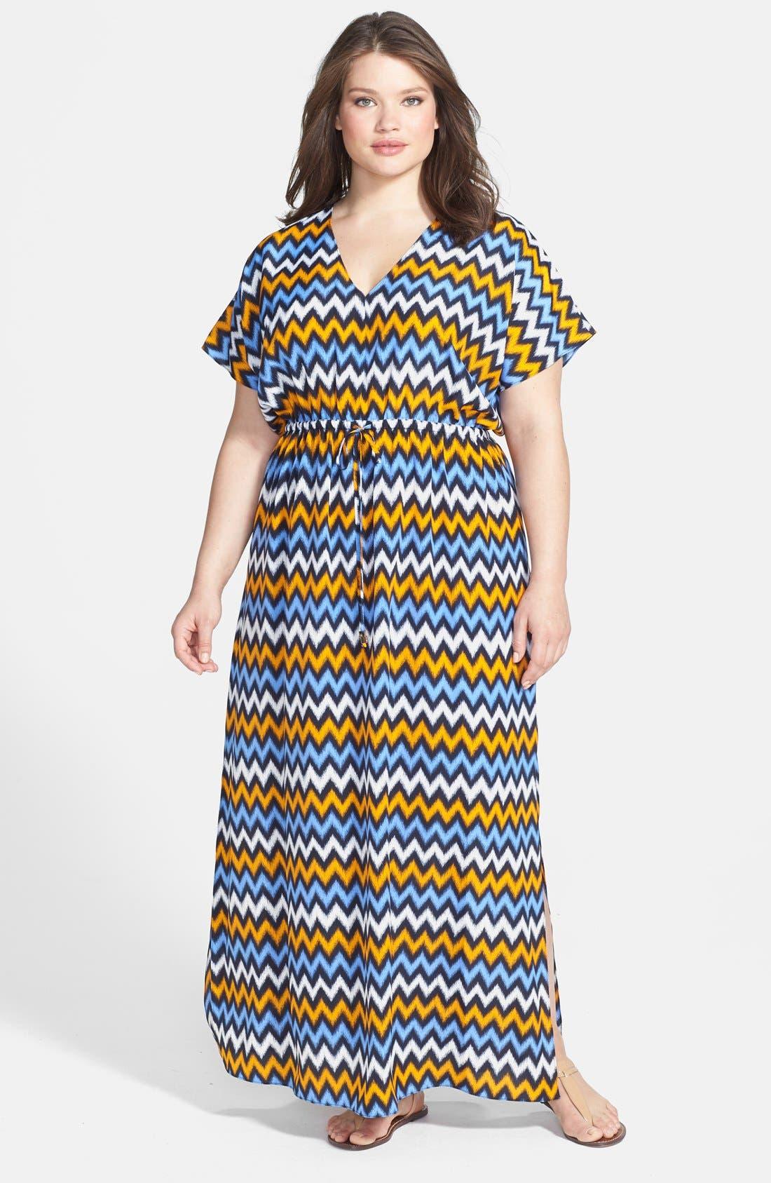 Alternate Image 1 Selected - MICHAEL Michael Kors Ikat Chevron Print V-Neck Maxi Dress (Plus Size)