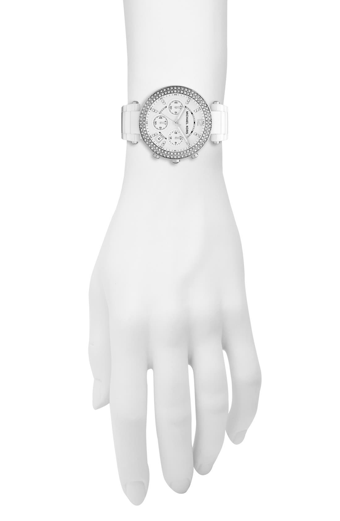 Alternate Image 2  - Michael Kors 'Parker' Chronograph Ceramic Bracelet Watch, 39mm