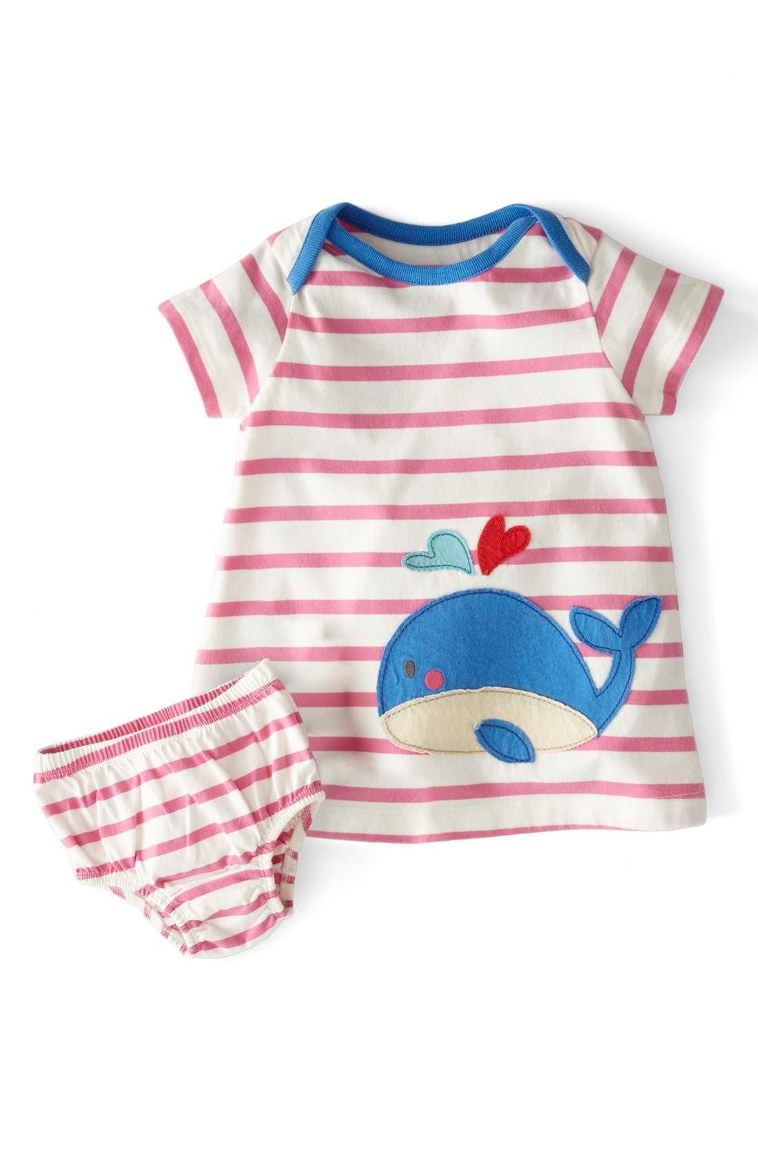 Main Image - Mini Boden Stripy Appliqué Short Sleeve Dress (Baby Girls)