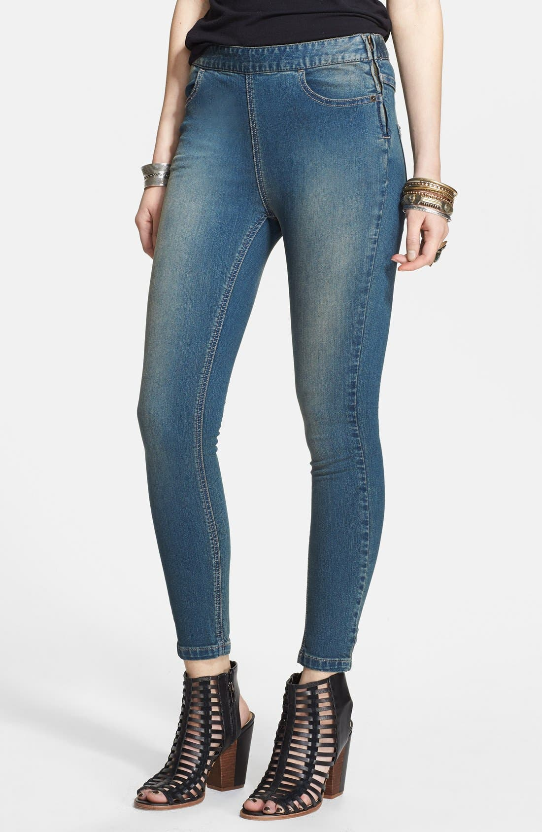 Alternate Image 1 Selected - Free People High Rise Side Zip Skinny Jeans (Coyote)