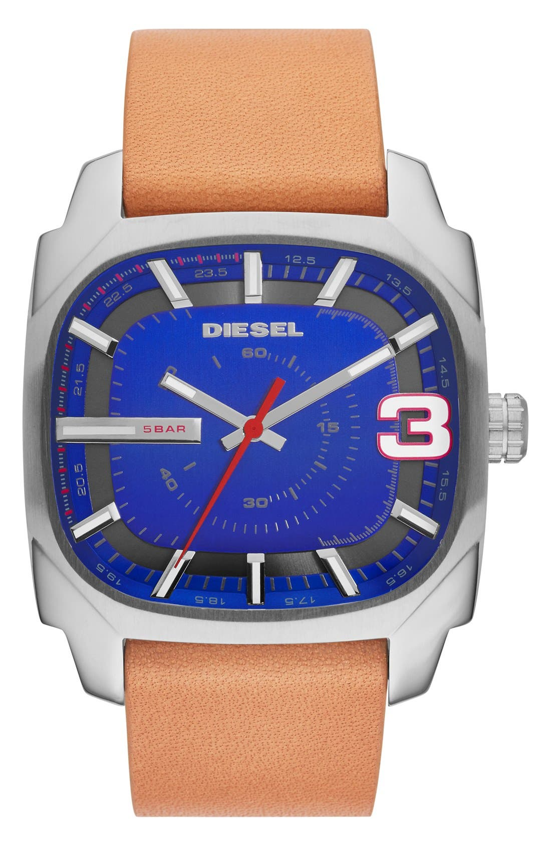 Main Image - DIESEL® 'Shifter' Square Leather Strap Watch, 42mm