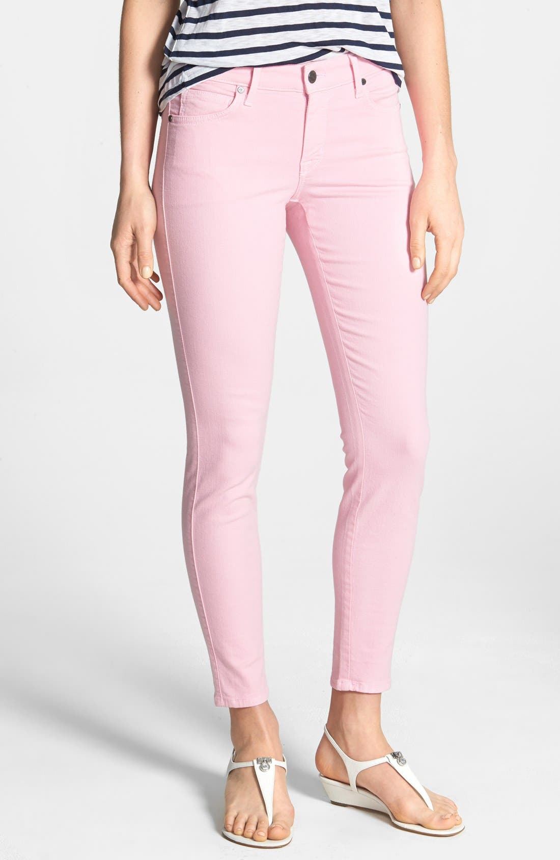 Alternate Image 1 Selected - CJ by Cookie Johnson 'Wisdom' Colored Ankle Skinny Jeans (Pink)