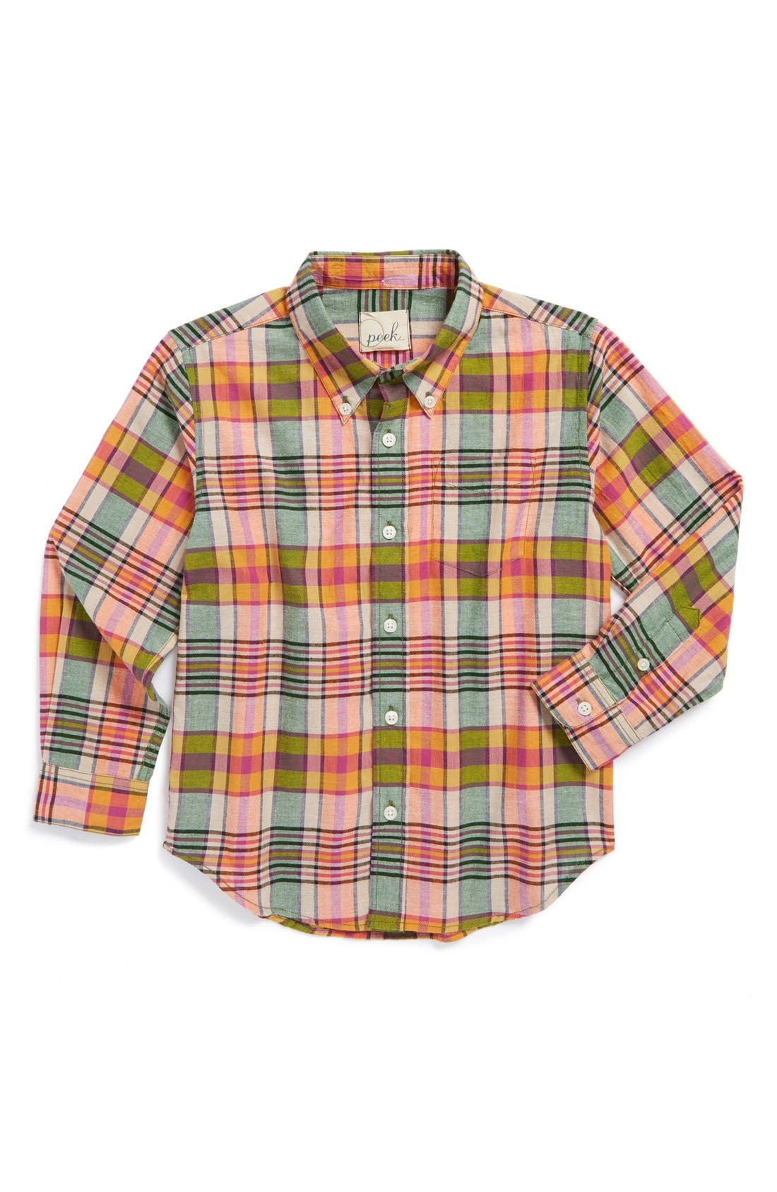Main Image - Peek 'Catamaran Bright' Woven Plaid Button Down Shirt (Toddler Boys, Little Boys & Big Boys)