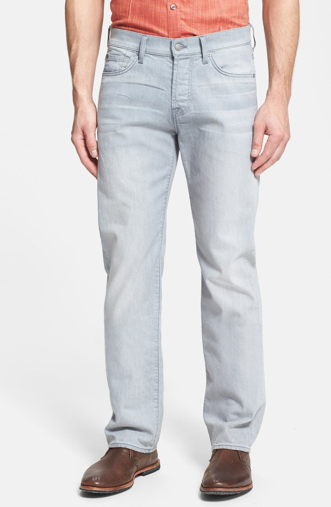 Main Image - 7 For All Mankind® 'Standard' Straight Leg Jeans (Ghost Grey)