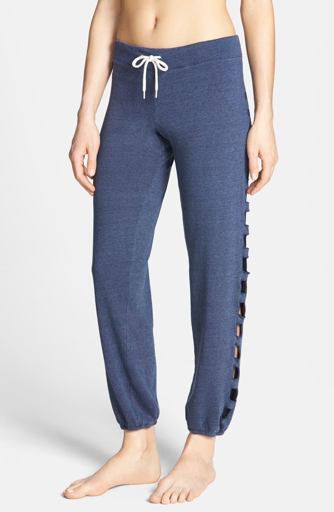 Main Image - Monrow Cutout Side Vintage Fleece Sweatpants