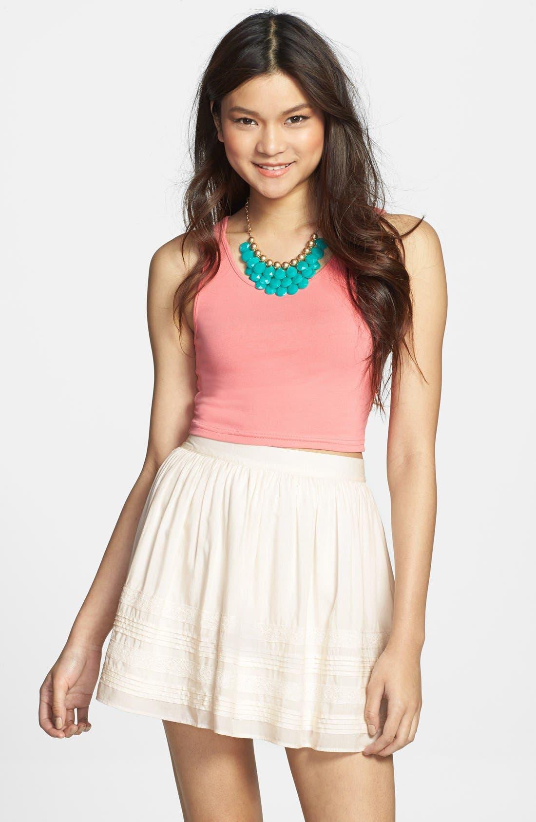 Alternate Image 1 Selected - Rubbish® Pleat Lace Trim Full Skirt (Juniors)