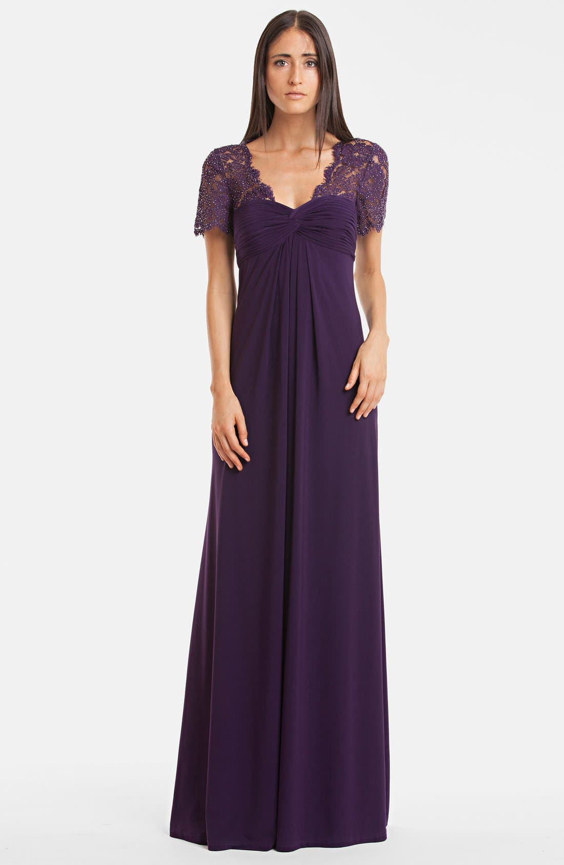 Alternate Image 1 Selected - JS Boutique Embellished Lace & Draped Jersey Gown