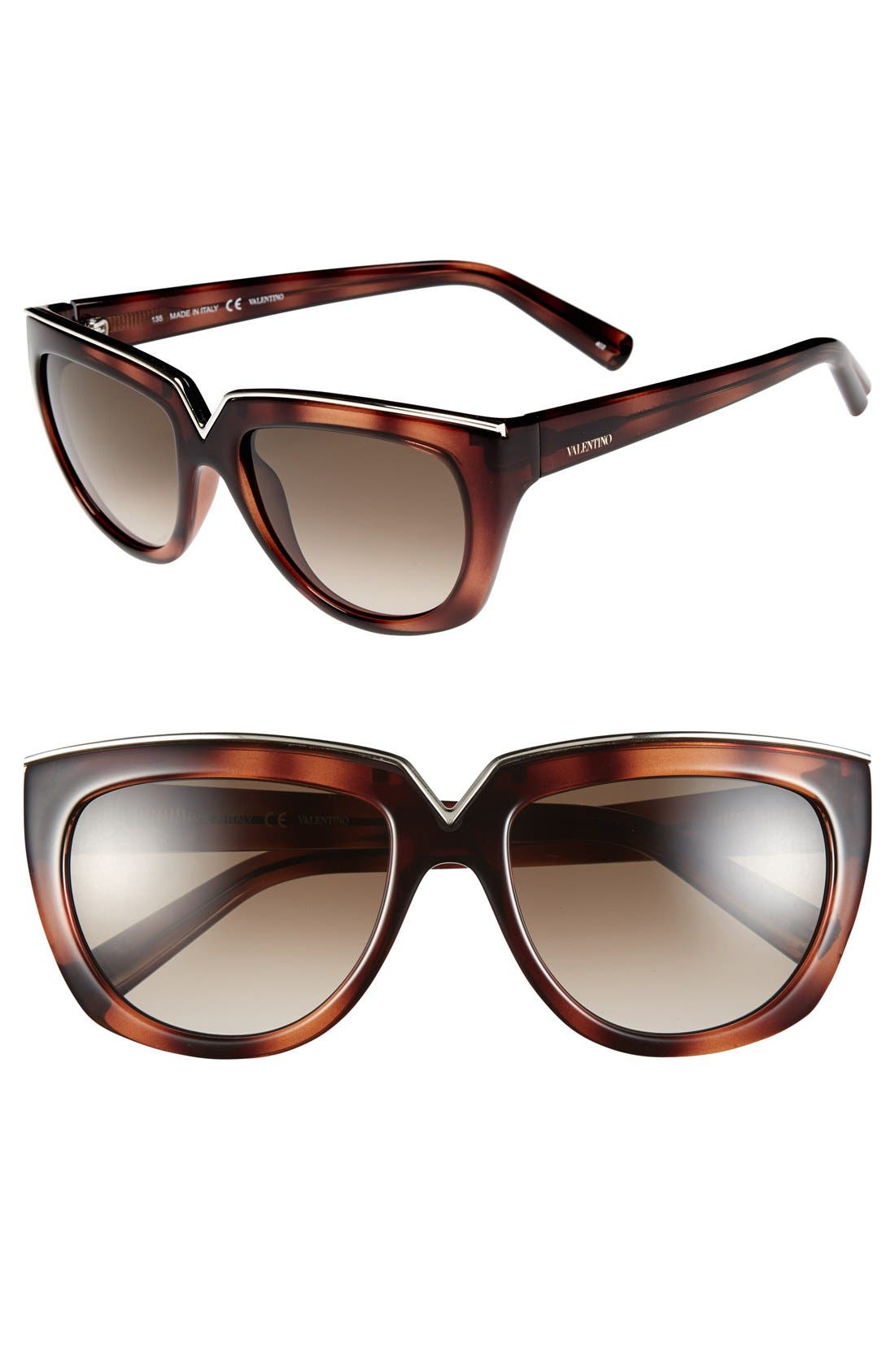 Alternate Image 1 Selected - Valentino 54mm Gradient Lens Sunglasses
