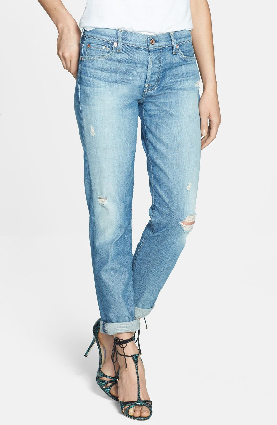 Alternate Image 1 Selected - 7 For All Mankind® 'Josefina' Distressed Boyfriend Jeans (Authentic Pacific Grove)
