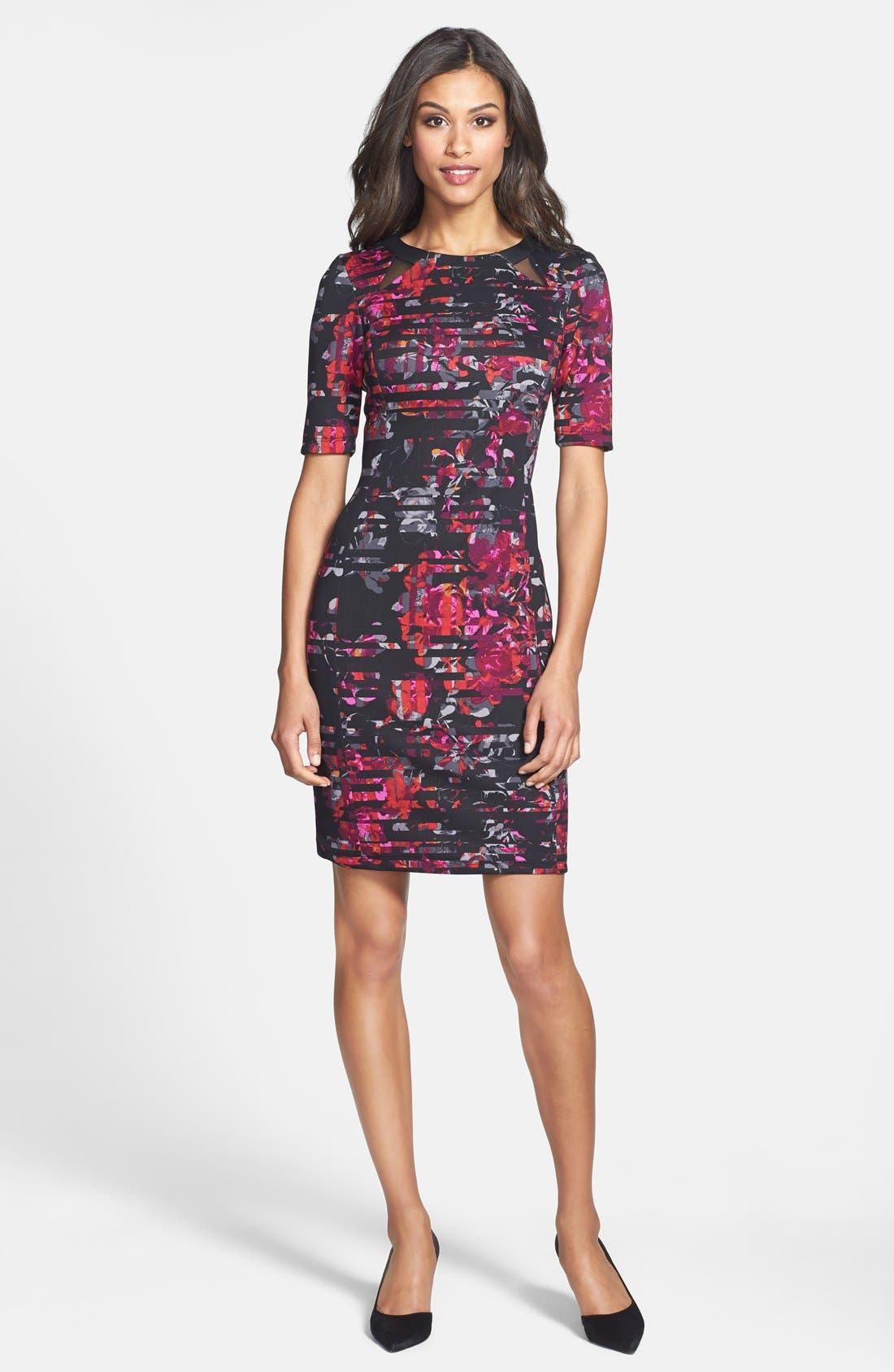 Alternate Image 3  - Taylor Dresses Floral Print Scuba Sheath Dress