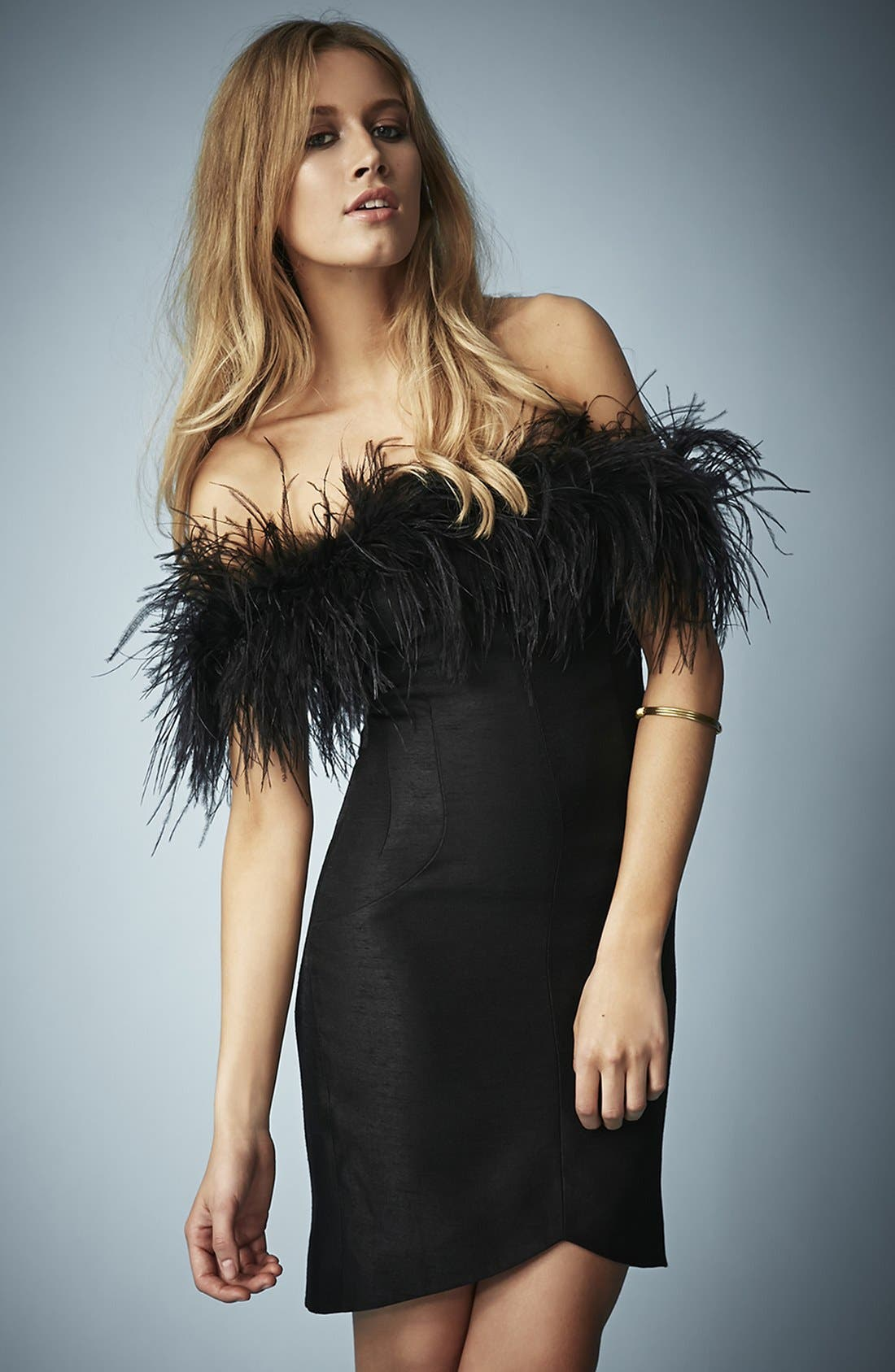 Main Image - Kate Moss for Topshop Feather Off Shoulder Cocktail Dress
