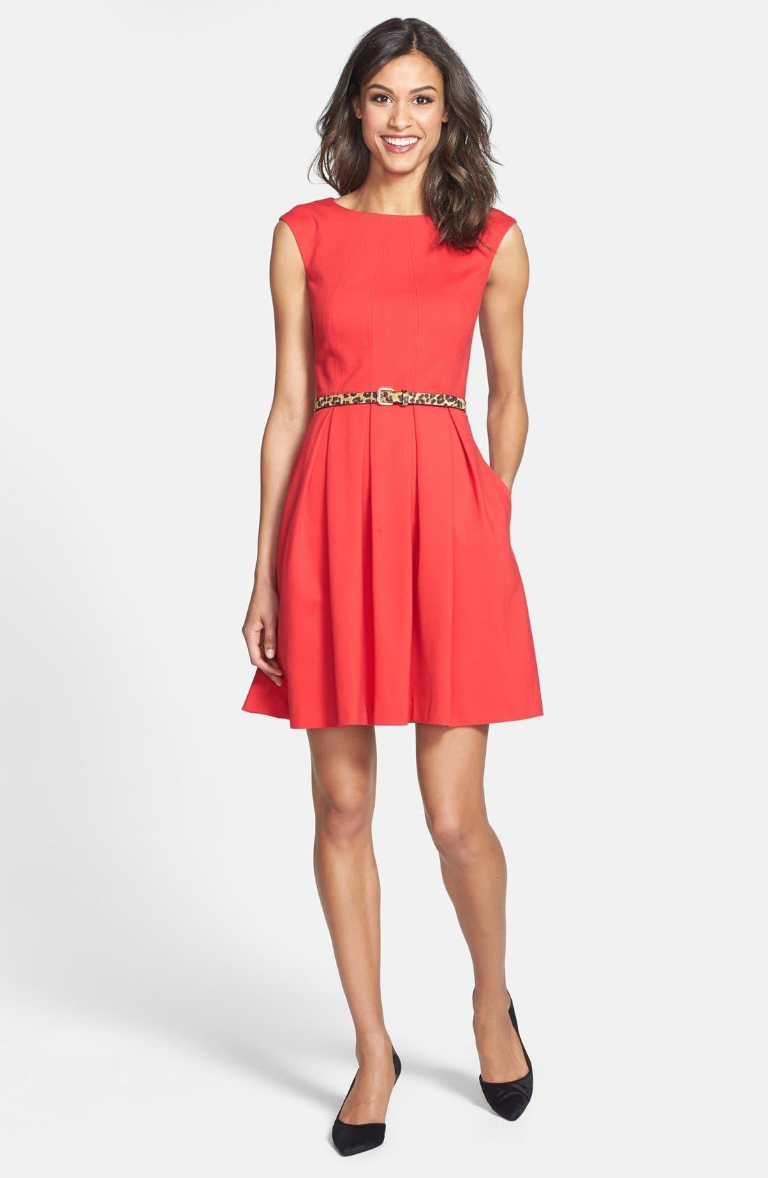 Alternate Image 3  - Eliza J Cutout Back Belted Ponte Knit Fit & Flare Dress