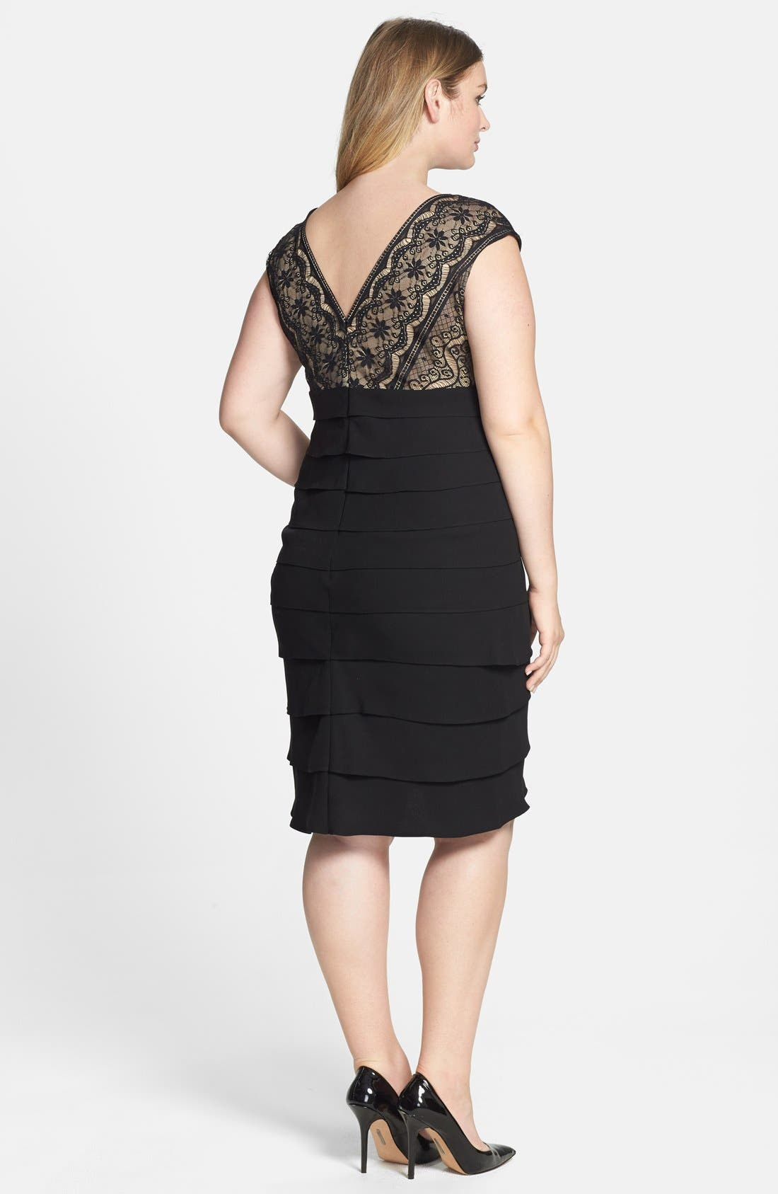 Alternate Image 2  - Jessica Howard Lace Bodice Tiered Crepe Dress (Plus Size)