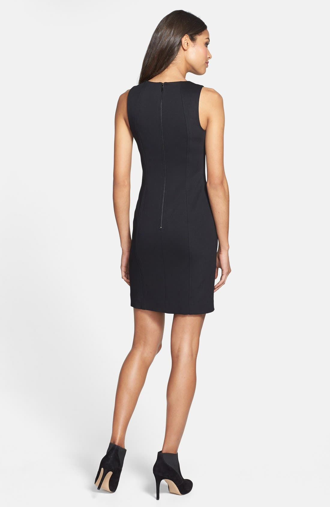Alternate Image 2  - Trina Turk Laser Cut Faux Leather & Ponte Sheath Dress