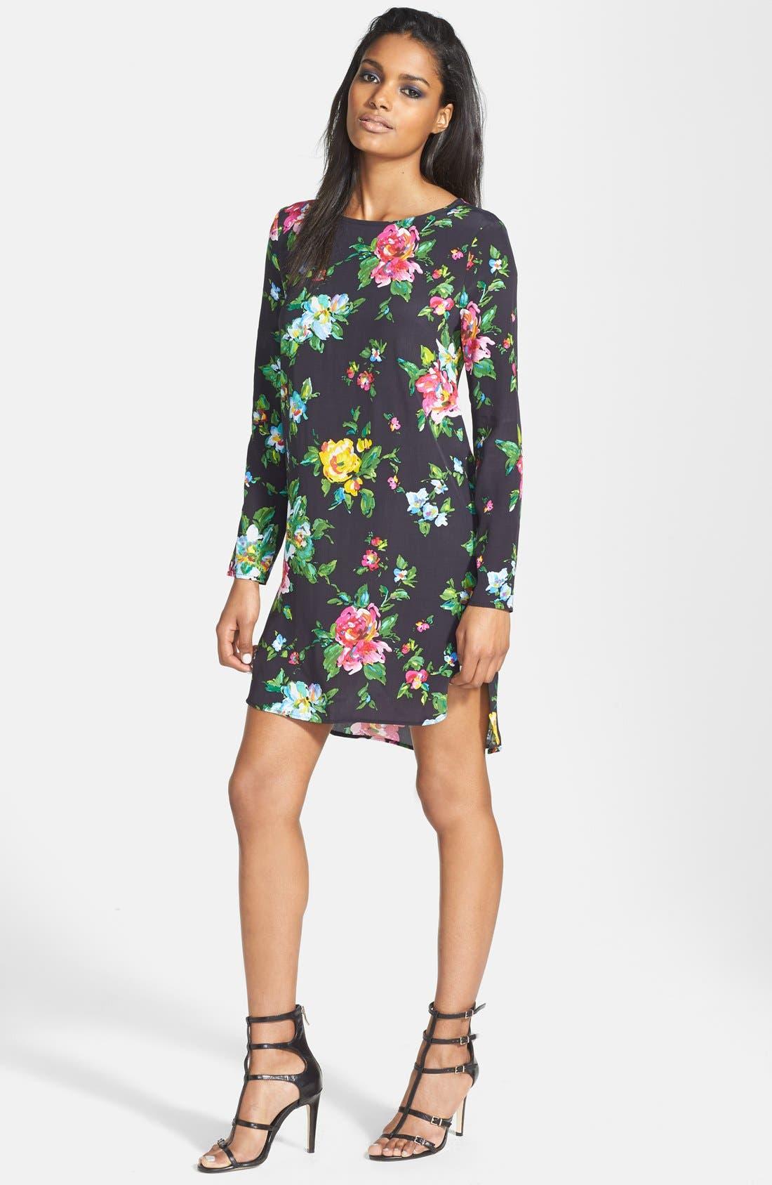 Alternate Image 1 Selected - Wayf Long Sleeve Crepe Shift Dress