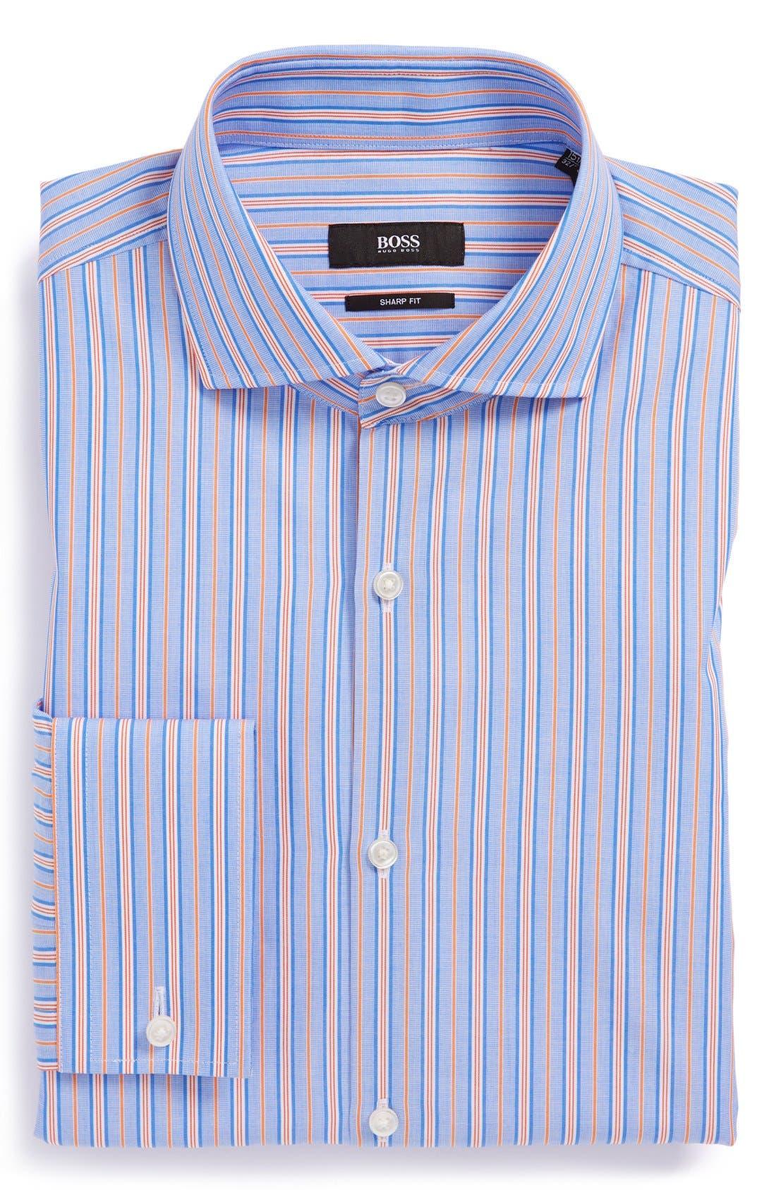 Main Image - BOSS HUGO BOSS 'Maison' Sharp Fit French Cuff Stripe Dress Shirt