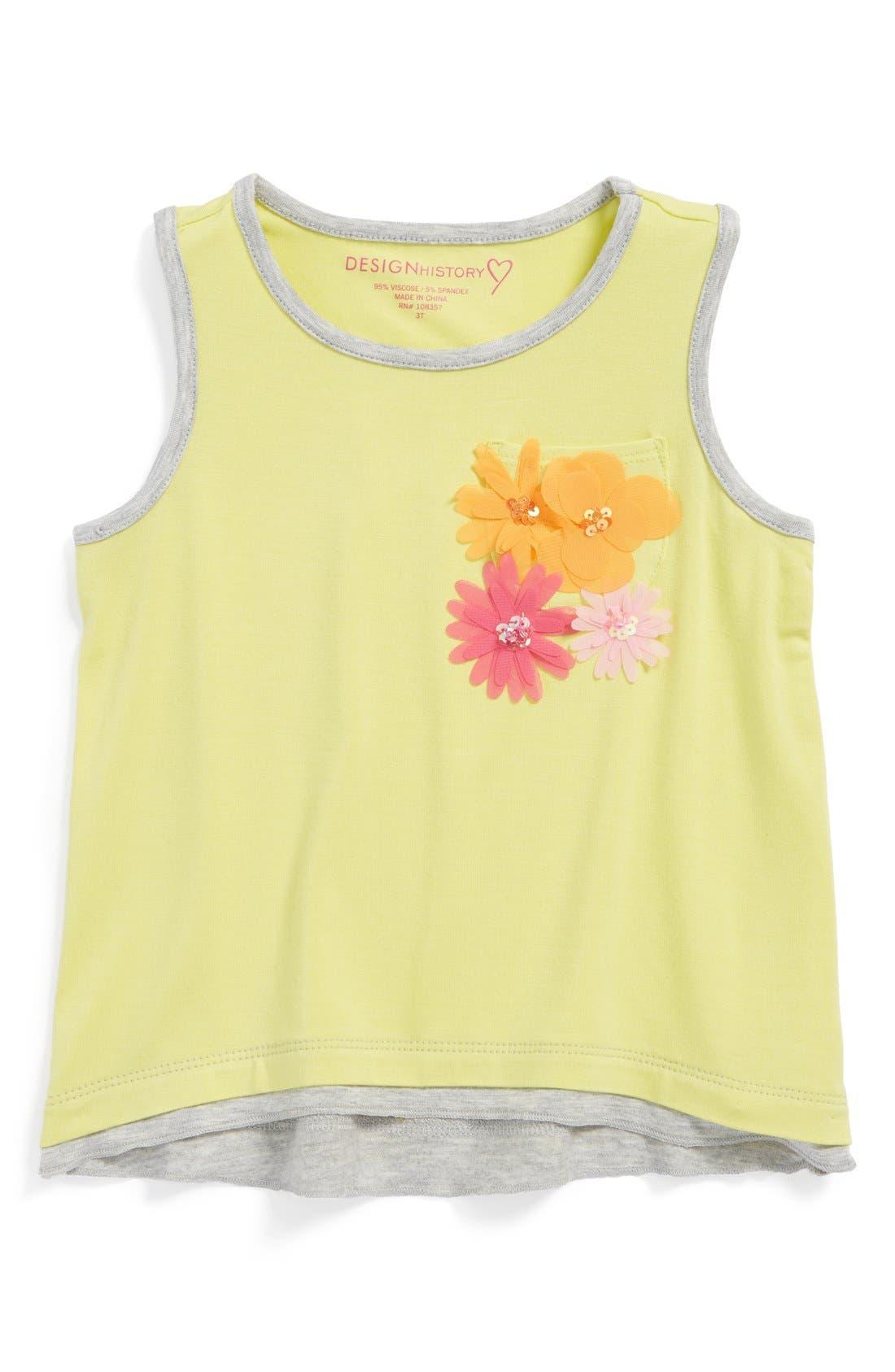 Main Image - Design History Flower Appliqué High/Low Tank Top (Little Girls)