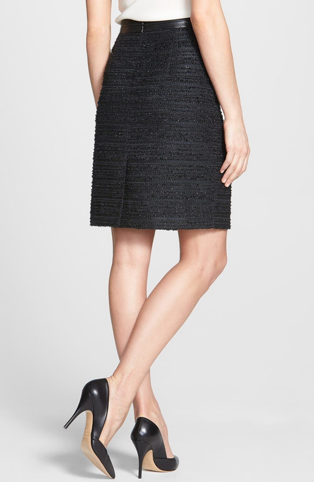 Alternate Image 2  - Milly Metallic Tweed & Leather Pencil Skirt