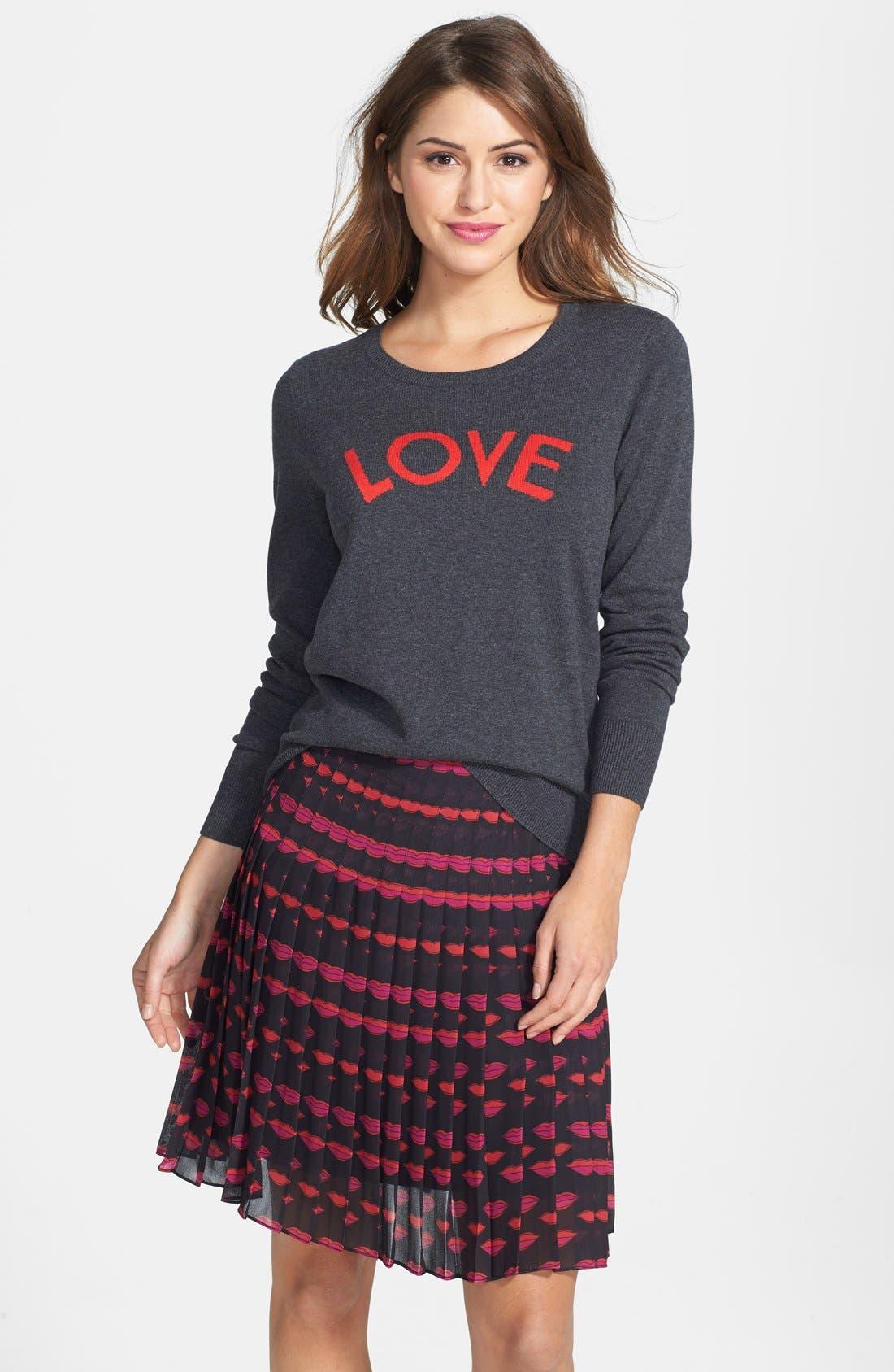 Alternate Image 1 Selected - Halogen® 'Love' Shoulder Zip Intarsia Sweater (Regular & Petite)