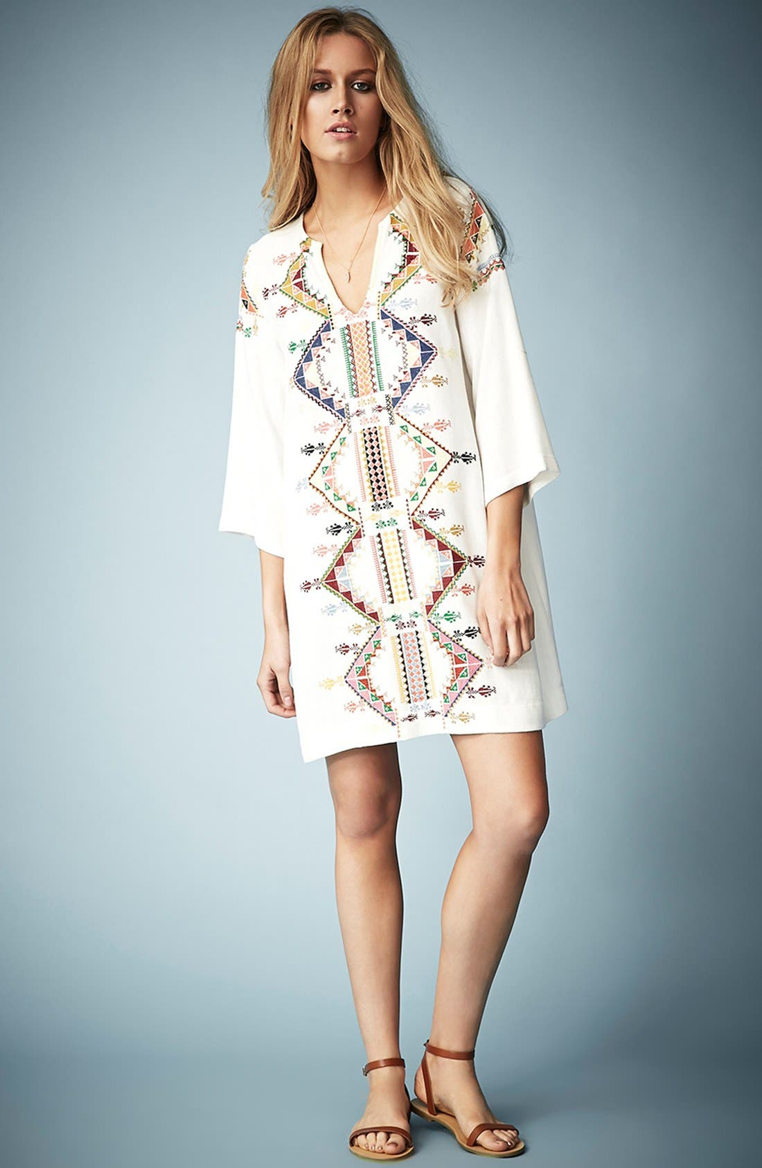 Alternate Image 5  - Kate Moss for Topshop Embroidered Smock Dress
