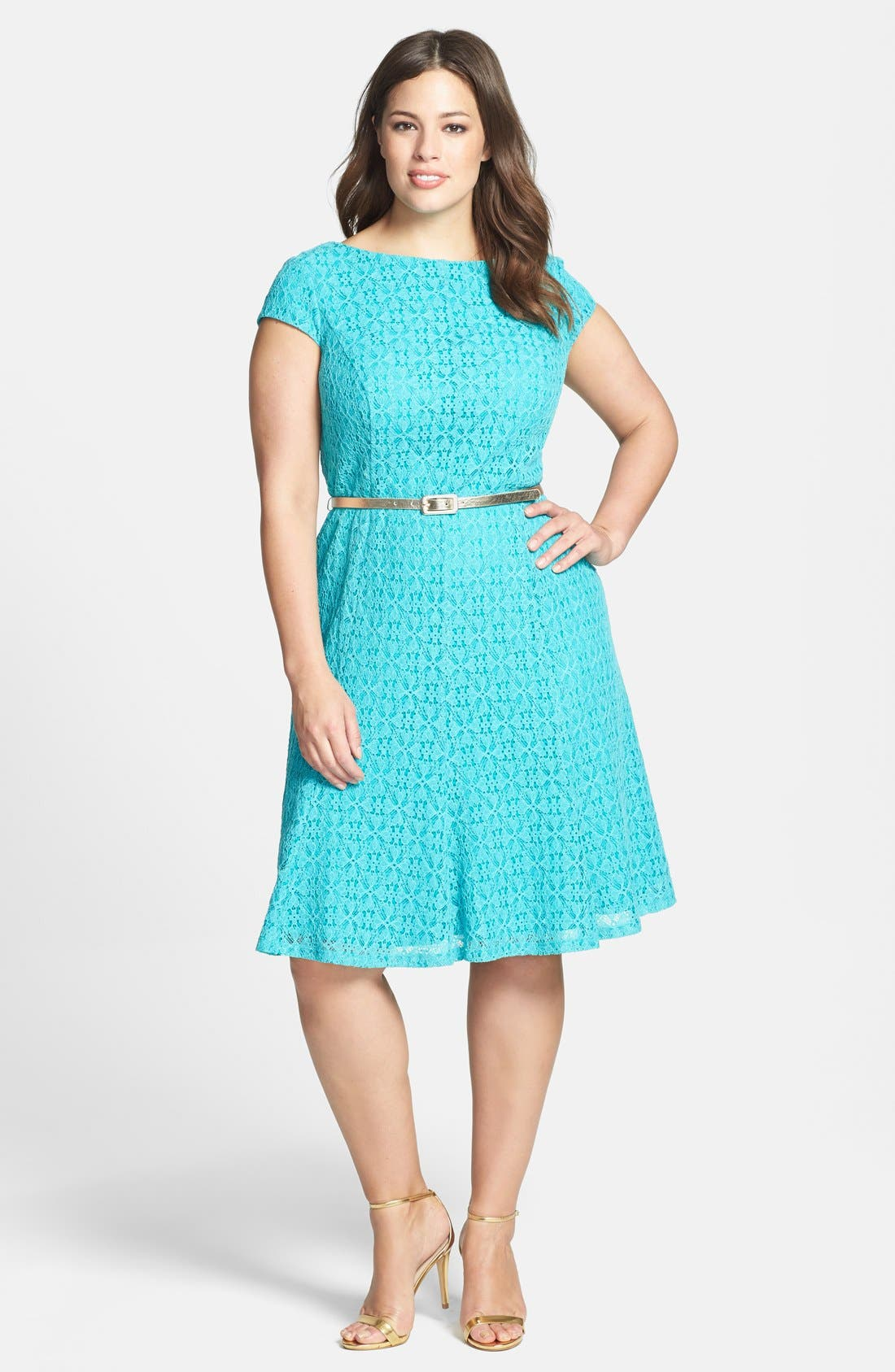 Main Image - London Times Belted Cap Sleeve Lace Fit & Flare Dress (Plus Size)